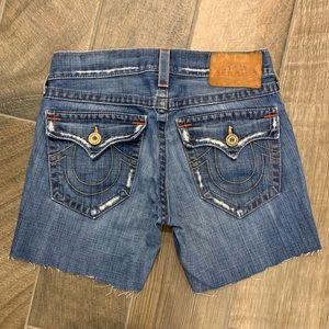Men's True Religion Flap Cut Off Shorts Size 30